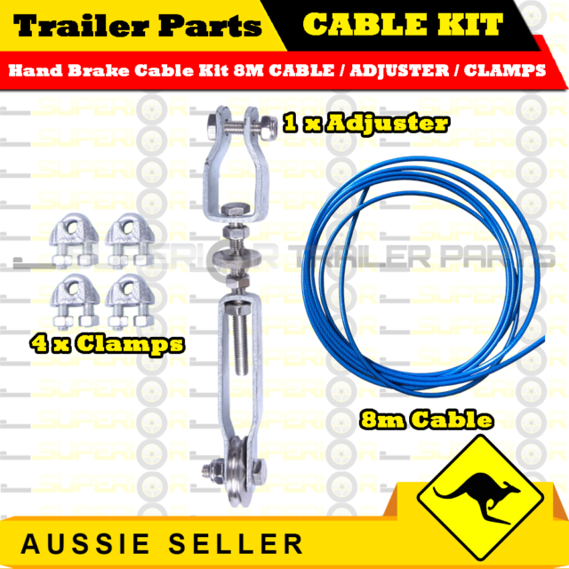 HAND BRAKE CABLE KIT-8M CABLE / ADJUSTER / CLAMPS BOX , CARAVAN, BOAT TRAILER
