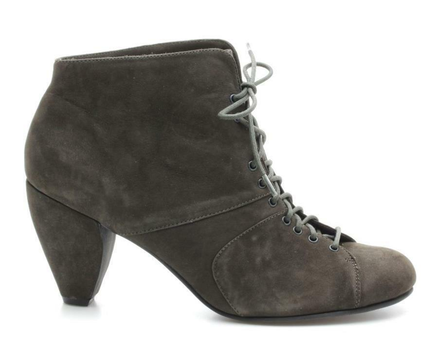 FARYLROBIN - Charcoal Grey Suede Lace Up Ankle Boots Sz 12
