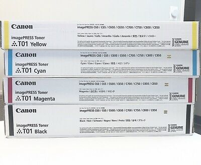 Genuine Canon Sealed T01 CMYK 4Toner Set For IPR C60 C600 C700 C800