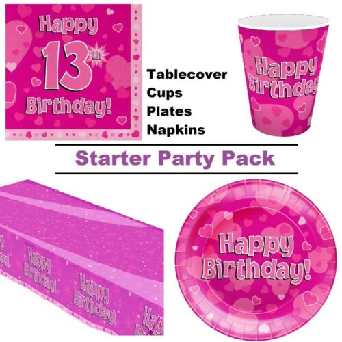 Happy 13th Birthday Pink Hearts 8-48 Guest Starter Party Pack Cup Plate Napkin