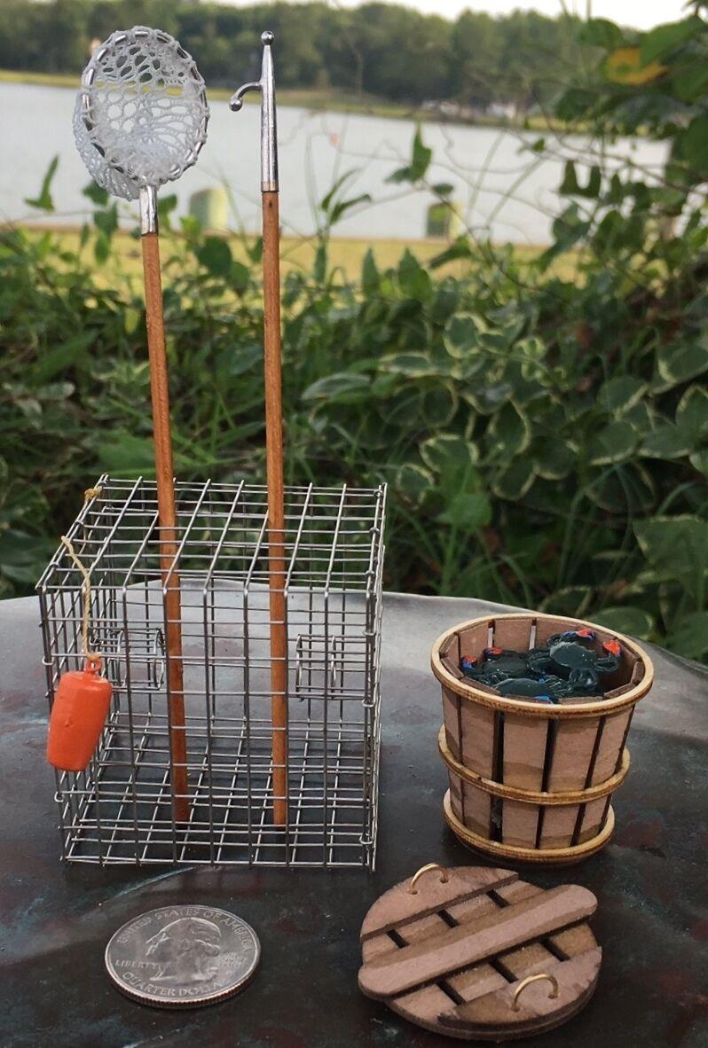 WK2, Miniature Waterman Kit (Crab Net, Trap, Boat Hook, Bushel Basket & Crabs)