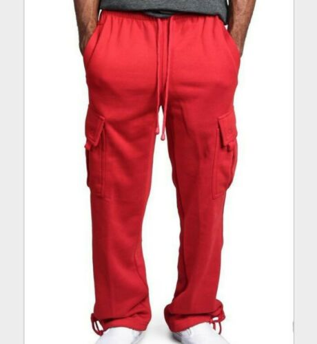 Men/'s Cargo Track Pants Straight Trousers Hip Hop Loose Multi-pocket Sport Chic