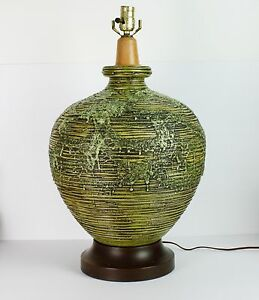 Mid-Century-Pottery-Lamp-Fat-Lava-Glaze-Green-Frothy-Monumental-Vintage
