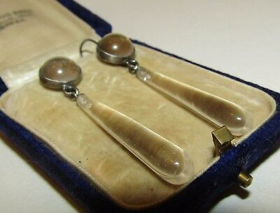 LONG, VICTORIAN, STERLING SILVER BOMB EARRINGS WITH ROCK CRYSTAL/POOL OF LIGHT