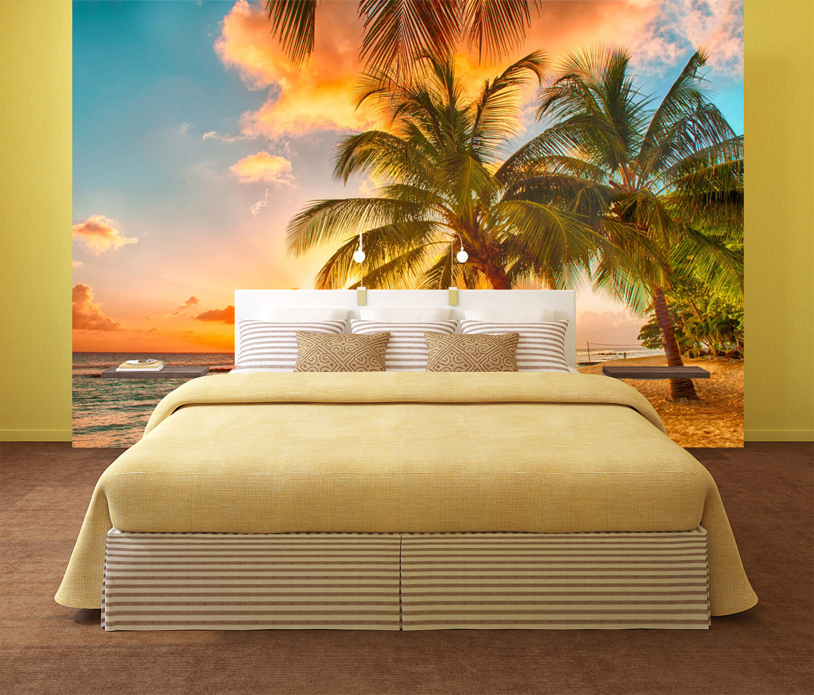 3D Sunset Sea Beach Tree Wall Paper wall Print Decal Wall Deco Indoor wall Mural