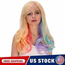 COS Long Wavy Rainbow Ombre Side Bang Heat Resistant Synthetic Curly Wigs Hair