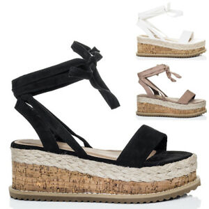 Womens-Lace-Up-Wedge-Heel-Espadrille-Gladiator-Sandals-Shoes-Sz-5-10