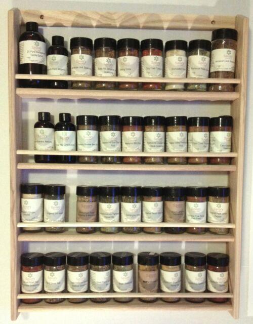 """Solid OAK Wood Spice Rack / 26.5""""H x 19.75""""W / Wall Mount Wooden Spice Rack"""