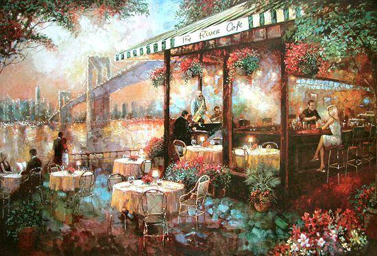 Ruane Manning  The River Cafe Keilrahmen-Bild Leinwand Idylle Strassencafe