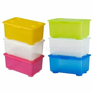 set of 3 ikea glis small plastic storage boxes with hinged lids blue or pink ebay. Black Bedroom Furniture Sets. Home Design Ideas