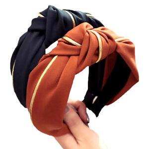 Women Headband Twist Hairband Bow Knot Cross Tie Wide Headwear Hair Band Hoop AW