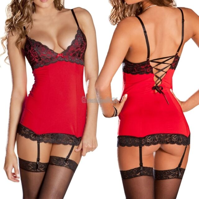 Women's Sexy Lingerie Lace Dress Underwear Black Babydoll Sleepwear + G-string