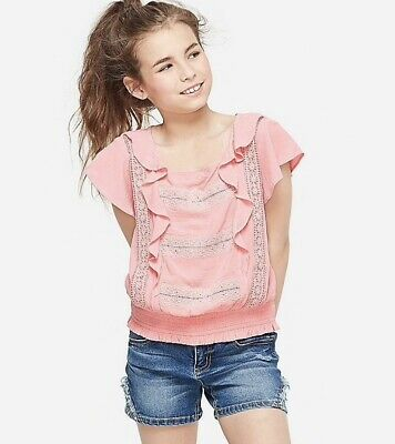 NWT JUSTICE Girls 10 Mint Peasant Flounce Top