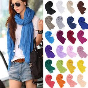 Womens-Cotton-Linen-Crinkle-Long-Soft-Scarves-Wraps-Bufandas-Solid-Shawls-Scarf