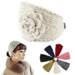 Women Crochet Headband Knit Hairband Flower Button Winter Ear Warmer
