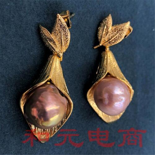 Violet 2018 13-14 mm énorme perle baroque boucles d/'oreilles or 18K South Sea New twopin