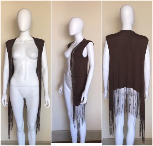 Brown Wool Boho Fringe Vest Sheri S Bodell Funky New Blend Silk Leather Owtq6WR1