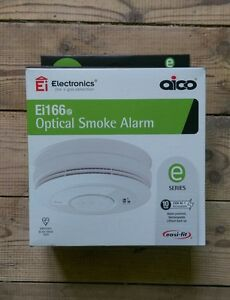 2 x aico ei166e smoke alarms mains powered with lithium back up radio link. Black Bedroom Furniture Sets. Home Design Ideas