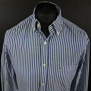 Lacoste-Mens-Vintage-Shirt-39-MEDIUM-Long-Sleeve-Blue-Regular-Fit-Striped