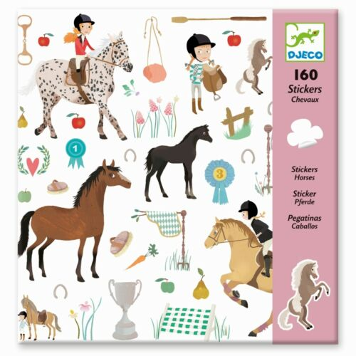 Djeco Sticker Pferde Reiten 160 Stück schöne große Aufkleber