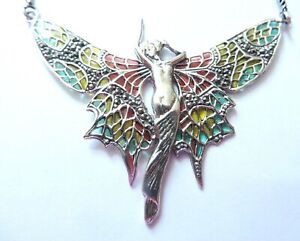 Fine Sterling Silver Lady Fairy Angel Goddess statement Necklace Art Nouveau