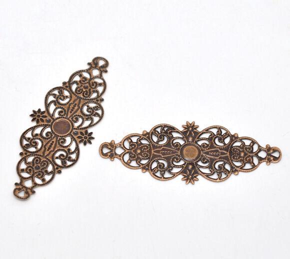 50 Copper Tone Filigree Flower Wraps Connectors