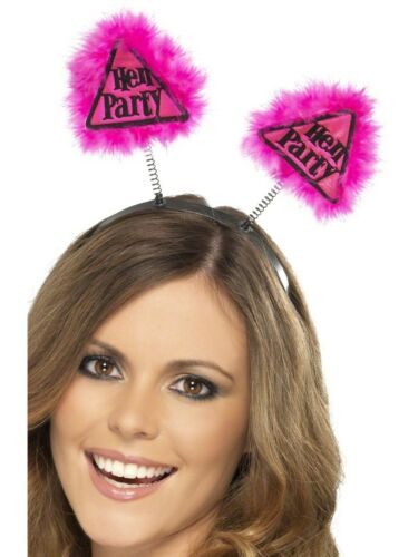 Pink /& Black Hen Party Warning Triangle Head Boppers With Marabou Hen Night