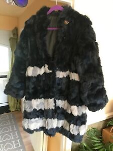 Real-Fur-Blue-Grey-Coat-14-16-Unworn-Patch-Rabbit-Lupin-Button-Stand-Collar