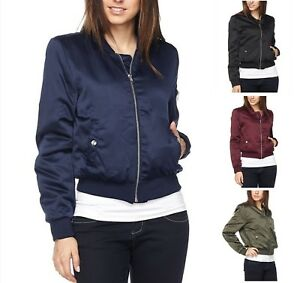 NEW-Women-SILKY-SMOOTH-MILITARY-Bomber-Jacket-Coat-Lightweight-REG-N-PLUS-S-3X