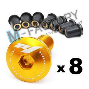 Gold-R1-Logo-Windscreen-Fairing-bolts-Set-For-Yamaha-R1-1999-2003-2004-2008