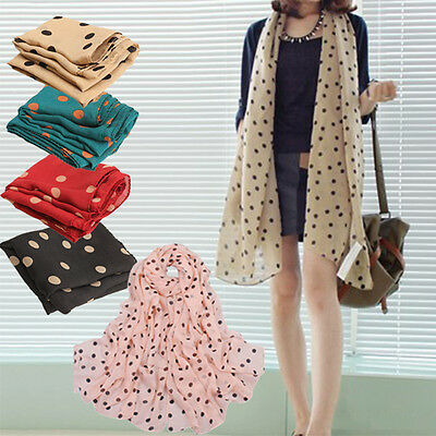 New Fashion Women Chiffon Polka Dot Scarf Lady Shawl Wrap Muffler