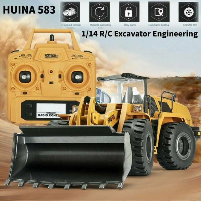 HUINA 583 1:14 RC Bulldozer Engineering Car Simulation Truck Excavator Vehicle