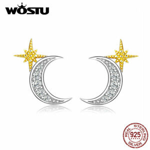 925-Sterling-Silver-Stud-Earrings-Moon-amp-Star-Gold-Plated-With-White-CZ-Ear-Stud