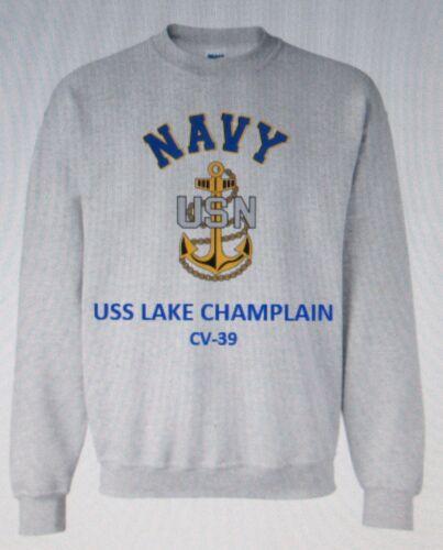 USS LAKE CHAMPLAIN  CV-39* AIRCRAFT CARRIER NAVY ANCHOR EMBLEM SWEATSHIRT