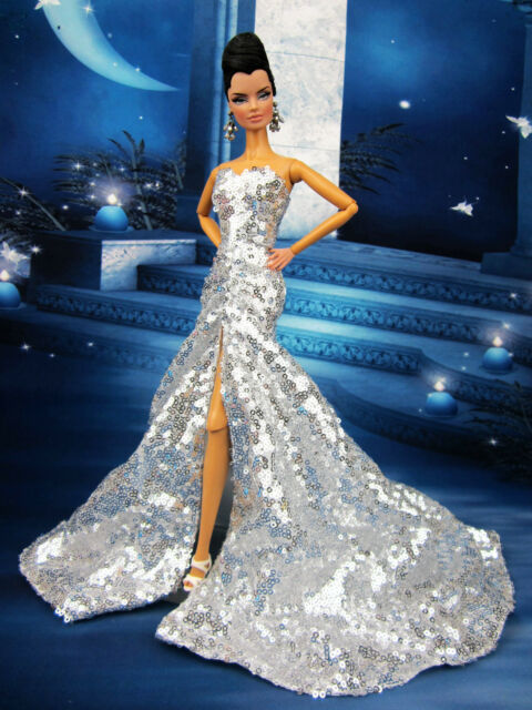Eaki Silver Sequin Evening Dress Outfit Gown Silkstone Barbie Fashion Royalty FR