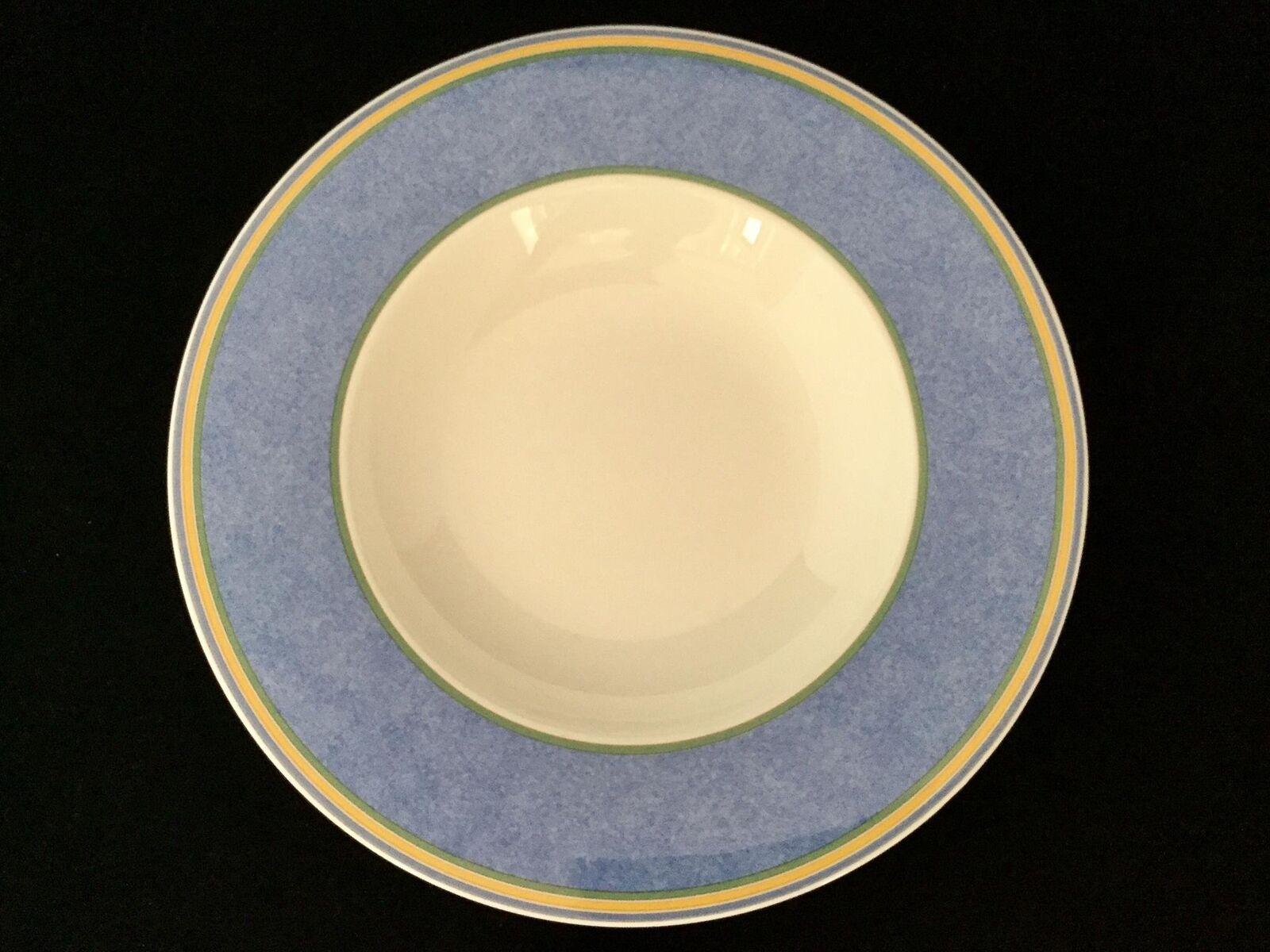 Beau lot de 4 Villeroy Boch Julie Ciel Large Rim Soup Bowl bleu-Free ship
