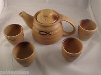 Chinese Yixing Yellow Clay Teapot Set 6 Pieces Christian Fish Symbol