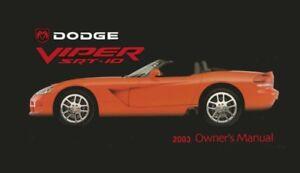 2003 dodge viper srt 10 owners manual user guide 602693824408 ebay rh ebay com dodge viper service manual download 2000 dodge viper owners manual