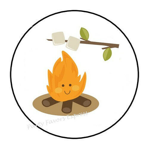 """30 CAMPFIRE SMORES ENVELOPE SEALS LABELS STICKERS PARTY FAVORS 1.5/"""" ROUND"""