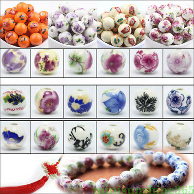 Wholesale Ceramic Loose Beads Round Spacer 12MM With Hole Porcelain Flower