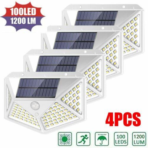 4er 100 LEDs Solarleuchte Bewegungsmelder Solarstrahler Außenleuchte Gartenlampe