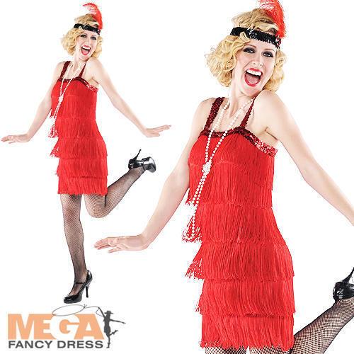 1920s Red Flapper Dress Ladies Fancy Dress Gatsby 20s Charleston Womens Costume