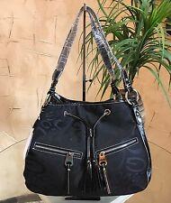 Designer Inspired New Fashion Faux Leather And Denim Handbag Size Large Black