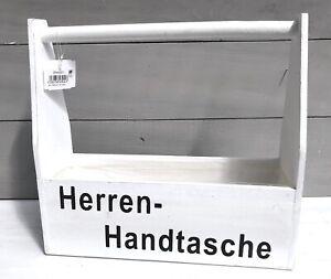 Herrenhandtasche-Holz-Holzkorb-Holzkasten-weiss-Shabby-Kiste-fuer-Flaschen