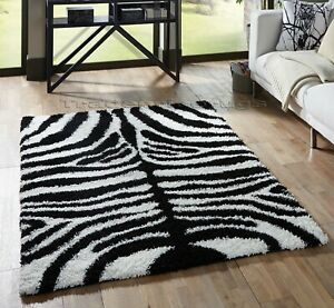 SMALL-EXTRA-LARGE-ZEBRA-BLACK-WHITE-THICK-SOFT-RUG-MODERN-SHAGGY-NON-SHED-RUGS