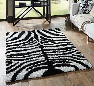 Zebra Black White Thick Soft Rug Modern