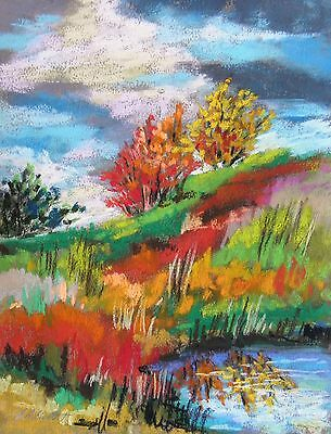 ORIGINAL Pond Landscape Pastel Painting JMW art Impressionism John Williams