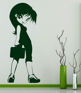 Cute intriguing Manga Girl kids room durable vinyl wall stickers decal decor UK