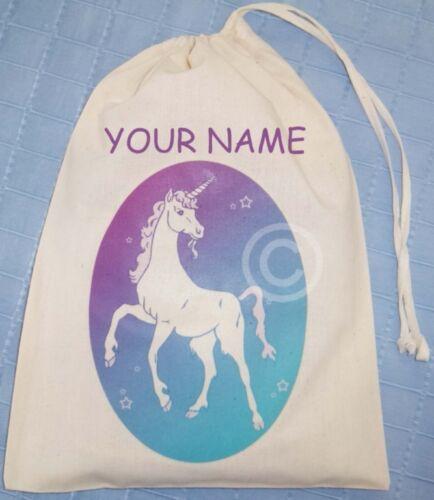 PERSONALISED UNICORN DRAWSTRING BAG cotton pink//purple
