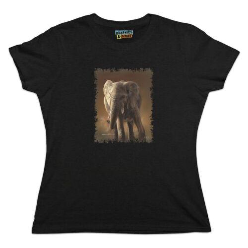 African Elephant Painting Women/'s Novelty T-Shirt